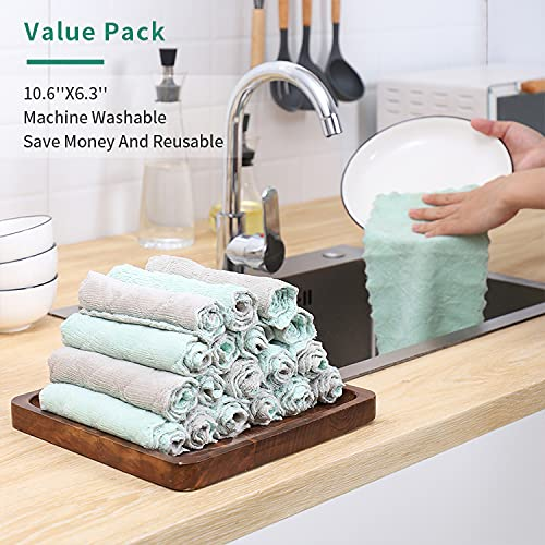 20 Pack Kitchen Dish Cloths, Super Absorbent Microfiber Cleaning Cloth for Cleaning Dishes, Kitchen, Bathroom, Car (Grey & Green)