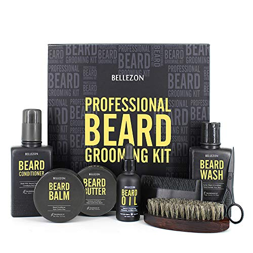 Upgraded Beard Kit for Men Grooming & Care W/Beard Conditioner,Beard Butter,Beard Balm,Beard Brush,Beard Oil,Beard Shampoo,Beard Comb,Beard Scissors,Storage Box,Perfect Gifts for Man Dad Boyfriend