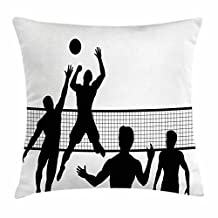 Volleyball Throw Pillow Cushion Cover, Silhouette of a Team Playing Beach Volleyball Ball and Net Outdoor Activities, Decorative Square Accent Pillow Case, 18 X 18 Inches, Black White