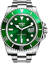 Rotatable Bezel Automatic Mechanical Watch Mens Brand Waterproof Full Steel Silver Luminous Dial Watches (Green)