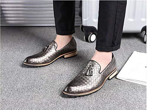 Grey LOVDRAM Men'S Leather shoes Luxury Brand Men shoes New Breathable Comfortable Men Loafers Tassel Weave Men'S Flats Men Casual shoes S