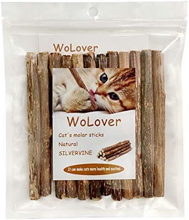 WoLover Silvervine Sticks for Cats, Natural Catnip Sticks Matatabi Chew Sticks Teeth Molar Chew Toys for Cat Kitten Kitty