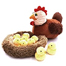 Lucky Gourd Creative Hen Chicken and 10 Baby Chicks Stuffed Plush Toy with a Nest