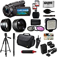 Sony FDR-AX33 4K Ultra HD Handycam Camcorder Video Camera + 60 Tripod + 67 Monopod + SD Card + Filter + Bag + Extra Memory Card + LED Light + Cleaning Set + 20 Piece Accessory Kit
