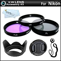 52MM Professional Lens Accessory Kit for NIKON Df DSLR (D5100 D5200 D5300 D3300 D3100 D40 D60 D80, P600) - Includes Filter Kit (UV, Polarizing, Fluorescent) Fits (18-55mm, 55-200mm, 50mm) Nikon Lenses