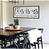 N/ A Farmhouse Decor Wall Decor This is us Sign Dining Room Wall Art Large Wood Sign Farmhouse Sign Large Living Room Decor
