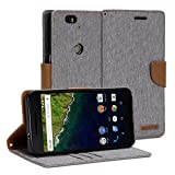 Google Nexus 6P Case, GMYLE Wallet Case Classic for Google Nexus 6P - Aluminium Grey & Deer Brown PU Leather Slim Stand Case Cover