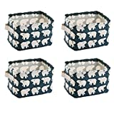 wellhouse 4 Pack Small Polar Bear Non-Woven Storage Box Foldable Organizer Cube Basket Bin Container Box for Clothes Book Socks (Polar Bear-4 Pack)