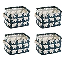 wellhouse 4 Pack Small Polar Bear Non-Woven Storage Box Foldable Organizer Cube Basket Bin Container Box for Clothes Book Socks (Polar Bear-4 Pack)