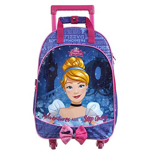 Mala Escolar G com 4 rodinhas, Cinderella, Dermiwil, 37351, Azul e Rosa
