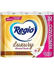 Regio Papel Higiénico Luxury Almond Touch; Ligero Aroma A Almendras Y Hojas Dobles; Marca Regio 32 Rollos, color, 32 count, pack of/paquete de