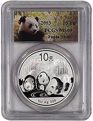 CN 2013 China Silver Panda (1 oz) 10 Yuan Special Panda Label PCGS MS69