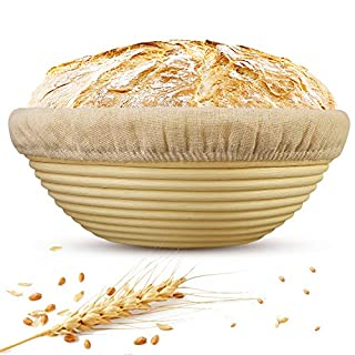 9 Inch Bread Banneton Proofing Basket Round Dough Basketing Bowl Proofing Box with Liner Cloth for Home Bakers Gifts Bread Making -100% Natural Rattan