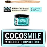 Activated Charcoal Teeth Whitening Powder With Bamboo Toothbrush | Natural, Vegan and Cruelty-Free Charcoal Toothpaste | 3.17 Ounce | CocoSmile