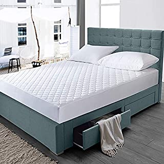 """HOMFY Quilted Mattress Pad Queen, Cotton Mattress Cover with Deep Pocket 18"""", Breathable, Hypoallergenic and Machine Washable (White, Queen)"""