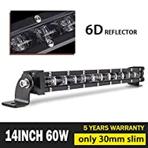 Jiuguang Single Row Led Light Bar CREE LEDs 6D Lamp Cup Off Road Lights for Jeep, Cabin, Boat, SUV, Truck, ATV, Driving Lights
