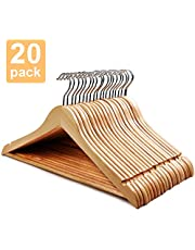 HOUSE DAY Wooden Hanger 20 Pack Wooden Suit Hanger Wooden Clothes Hanger Natural Smooth Finish Wooden Coat Hanger Premium Wooden Hangers for Clothes Dress Suit