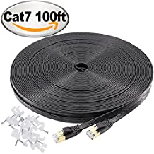 Cat7 Ethernet Cable 100 Ft Flat, jadaol® Shielded (STP) Network Cable Cat 7 Flat Ethernet Patch Cable, internet computer cable with Snagless Rj45 Connectors - 100 Feet Black (30meters)