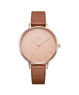 SHENGKE Women Watches Leather Band Luxury Quartz Watches Girls Ladies Wristwatch Relogio Feminino (K0039-Brown)