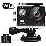 ATER Action Camera, 4K WIFI Sports Action Camera Ultra HD Waterproof DV Camcorder 12MP 2 LCD 170°Wide-angle Sports Camera with 2 Rechargeable 1050mAh Batteries and Mounting Accessory Kits