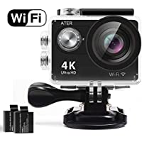 Action Camera,ATER 4K WIFI Sports Action Camera Ultra HD Waterproof DV Camcorder 12MP 2 LCD 170°Wide-angle Sports Camera with 2 Rechargeable 1050mAh Batteries and Mounting Accessory Kits