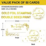 50 Coupon Cards Gold Foil Blank Gift Certificates