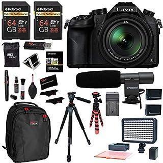 Panasonic LUMIX DMC-FZ2500 Digital Camera 4K Video, 2 Polaroid 64GB Memory Card, Ritz Gear Video 160 LED Light, Vanguard Tripod, 2 Batteries, Charger, Cleaning Kit, Backpack and Accessory Bundle