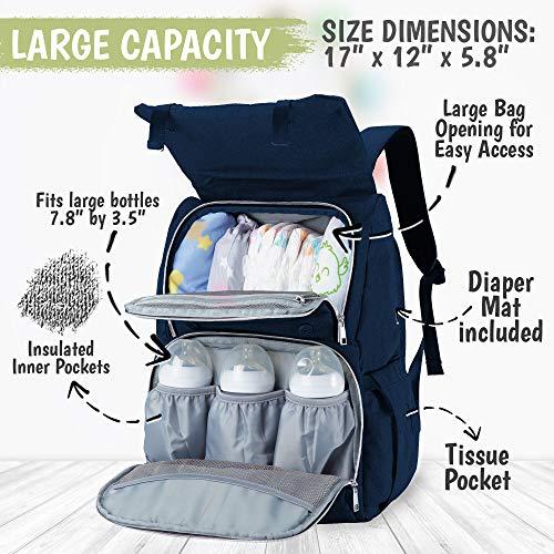 Diaper Bag Backpack, Waterproof Multi Function Baby Travel Bags (Navy Blue)