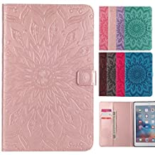 LEMORRY Apple iPad mini 4 Case Leather Flip Wallet Pouch Slim Fit Bumper Protection Magnetic Strap Stand Card-Slot Soft TPU Tablet PC Holster Cover for Apple iPad mini4, Blossom (Rose Gold)