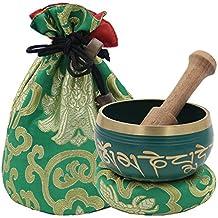 DharmaObjects ~ Tibetan OM MANI Singing Bowl Set ~ With Mallet, Brocade Cushion & Carry Bag ~ For Meditation, Chakra Healing, Prayer, Yoga (Green)