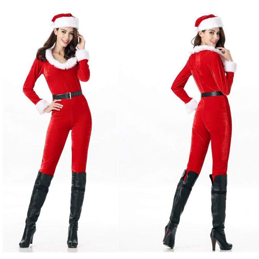 TUWEN Christmas Costume Nightclub Bar Stage Costume Santa Claus Siamese Strap Hat Belt Christmas Dress Adult Woman