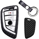 Modipim Keyless Entry Remote Case Key Fob Covers Carbon Fiber Looks Silicone Holder Shell With Key Chain 3/4 Button For BMW X5 X6 X1 5-series 7-series 530li