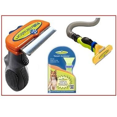 FURminator de Shedding Tool and FurVac Comb for Medium Dogs with Short Hair