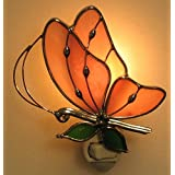 Best Discount Stain Glass Baby Pink Butterfly Night Light