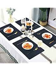 LOMOHOO Placemats Set of 6, Leather Place Mats Heat Resistant Placemats Non-Slip Table Mats Wipeable Waterproof Washable Coffee Mats for Kitchen Dining Table Decor