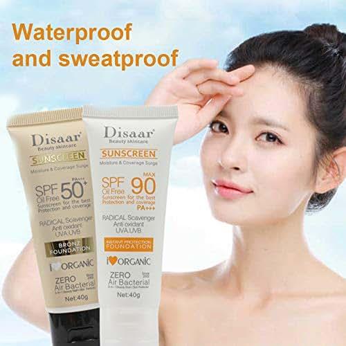 BaoTe' 2 Pcs. Summer Facial Body Sunscreen Cream Sunblock Skin Protective Cream Anti-Aging Oil-control Moisturizing Whitening SPF 50 + SPF 90