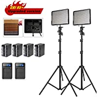 Aputure Amaran AL-528W LED Video light Panel LED lighting Kit with Light Stand and Battery Pack Battery Charger-Pack of 2