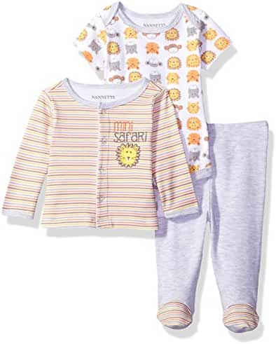 Nannette Baby Boys' 3 Piece Layette Set with Cardigan Creeper and Pant
