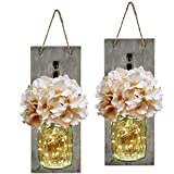 HABOM Rustic Mason Jar Wall Decor Sconces - Decorative Home Lighted Country House Hanging with LED Fairy Strip Lights and Flo