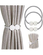 [2 Pack] Magnetic Curtain Tiebacks Convenient Drape Tie Backs - Pinowu Pearl Decorative Rope Holdback Holder for Small, Thin or Sheer Window Drapries (Gray)