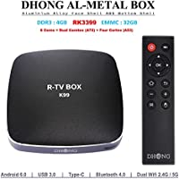 DHong K99 TV Box Made of Premium Aluminium Alloy, R-TV BOX RK3399 4GB RAM 32GB ROM 6 Cores 64-Bit Android 6.0 USB 3.0 Bluetooth 4.0 Dual Wifi Type-C Display Port 4K FHD UHD Smart Media Player