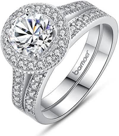 Bamoer 2 Pieces White Gold Plated Round Brilliant Cut Solitaire Cubic Zirconia Halo Promise Engagement Ring Set for Girls Women Size 7 to 8