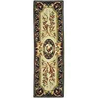 Safavieh Chelsea Collection HK48K Hand-Hooked Ivory and Black Premium Wool Runner (26 x 8)