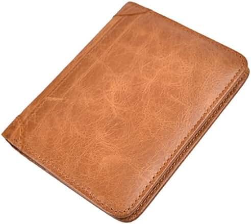 Mens Vintage Bifold Wallet RFID Blocking Slim Genuine Leather Wallet Handmade