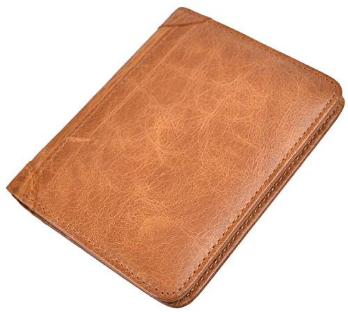 Mens Vintage Bifold Wallet RFID Blocking Slim Genuine Leather Wallet Handmade (Golden)