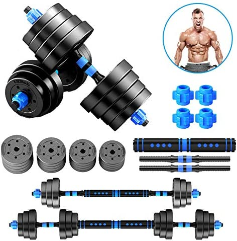 FGG Adjustable Dumbbells Barbell Set 2 in 1 for Men and Women 20-80lb Dumbbells Sets Home Multifunctional Dumbbells Gym Equipment with Connecting Rod as Barbells(Pair)