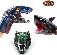 SUIYUEOUR- DinosaurToys Tyrannosaurus Rex ,Velociraptor Hand Puppet & Soft Rubber Realistic Shark Hand Pup
