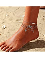 Nicute Beach Shells Anklet Silver Multilayered Starfish Ankle Bracelets Boho Summer Foot Jewelry for Women and Girls(4 PCS)