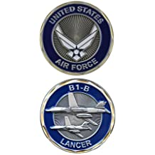 United States Military US Armed Forces Air Force B1-B Lancer Bomber Plane - Good Luck Double Sided Collectible Challenge Pewter Coin