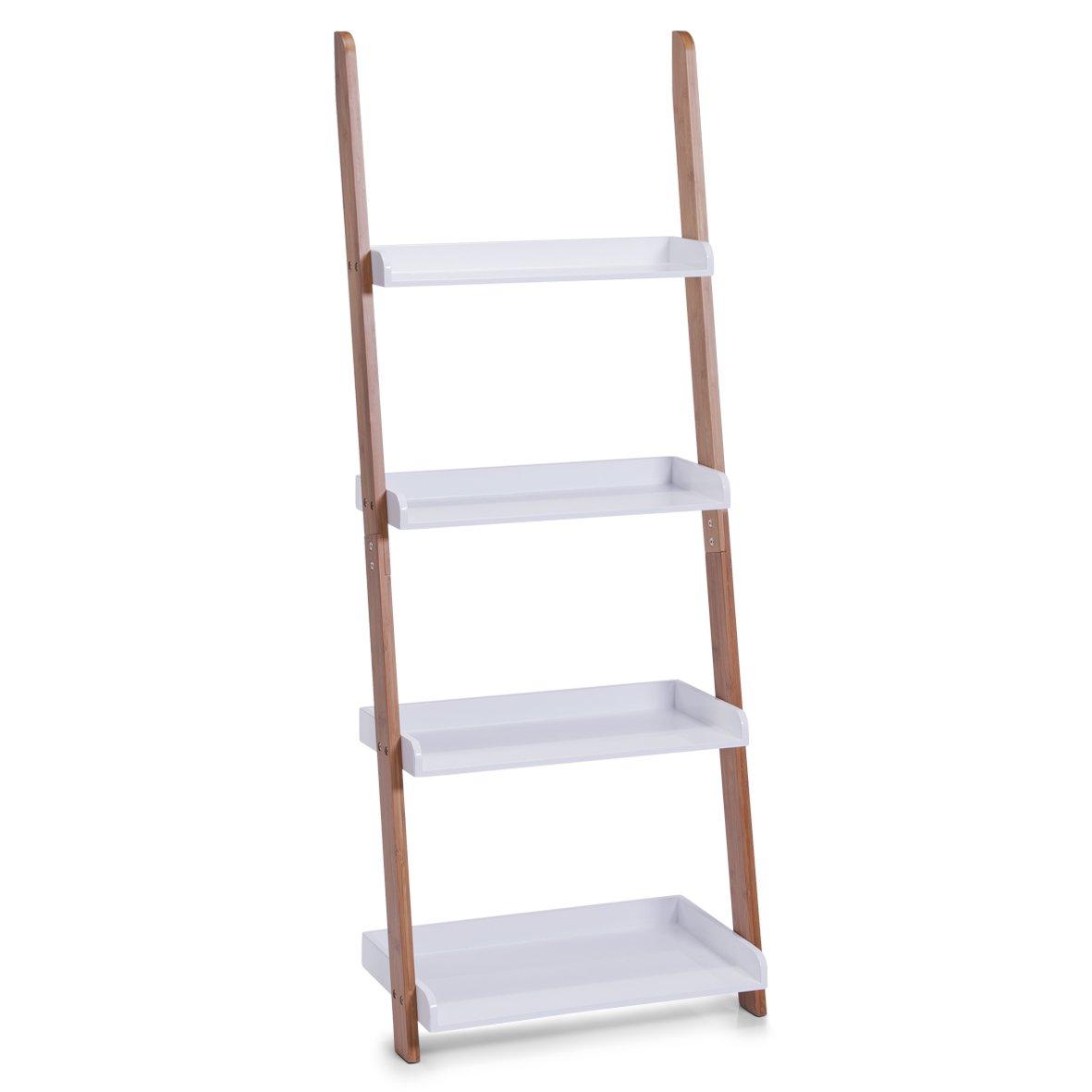 Zeller 18632 Leiter-Regal mit 4 Böden, Bamboo Mitteldichte Holzfaserplatte (MDF), 55 x 30 x 145 cm, weiß